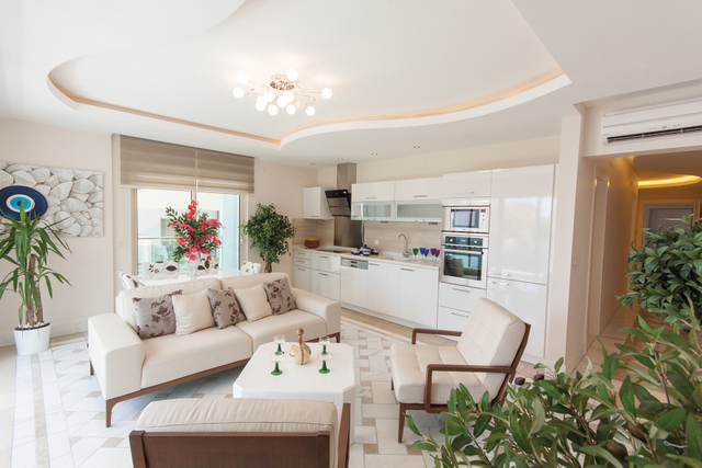 luxury living room with easy access to the b